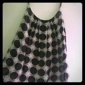 Black and white camisole with sheer overlay